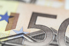 Any Euro banknotes in detail. Royalty Free Stock Images