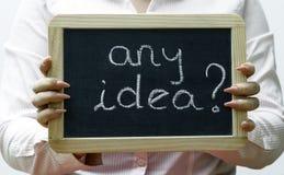 Any Idea ? written on blackboard/chalckboard Royalty Free Stock Photos
