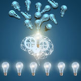 Any issues are resolved in the brain . stock illustration