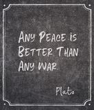 Any peace Plato quote. Any peace is better than any war - ancient Greek philosopher Plato quote written on framed chalkboard stock image