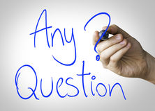 Any Question hand writing on blue marker on transparent wipe board Royalty Free Stock Photography