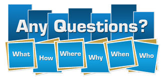 Any Questions Blue Squares Stripes. Any questions concept image with text and related keywords over blue background Stock Photo