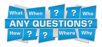 Any Questions Blue Squares Top Bottom. Any questions concept image with text and related keywords over blue background Royalty Free Stock Photo
