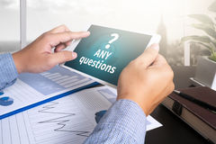 ANY questions and  CLIENTS CONSULTING Stock Photo