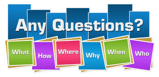 Any Questions Colorful Squares Stripes Royalty Free Stock Image