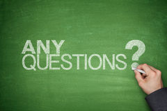 Any Questions concept on Blackboard. Any Questions concept on black Blackboard with hand Royalty Free Stock Image