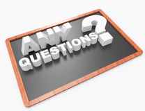 Any Questions concept on Blackboard Stock Image