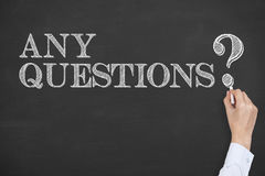 Any Questions Concept on Chalkboard Royalty Free Stock Photography