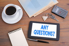 Any Questions. Old wooden office desk Royalty Free Stock Photos