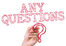 Any Questions written on wipe board Royalty Free Stock Photos
