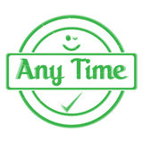102-Any Time Stamp. An `Any Time` Rubber Stamp Seal of Approval Isolated on a White Background Stock Photo