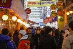 Anyang, South Korea - 13 January 2019: people on the main area of Anyang central market stock photo