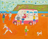 Anybody for ice cream ? Oil on canvas. Illustration using oil on canvas of beach scene with ice cream van and figures beside the sea Stock Photos