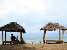 Anyer Beach Huts. Serang, Indonesia - November 12, 2017: Beach huts in Anyer Beach, Banten stock image