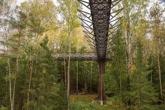 ANYKSCIAI, ΛΙΘΟΥΑΝΙΑ - oktober, 2017: Treetop TAKA LAJU διάβαση πεζών Στοκ Φωτογραφίες