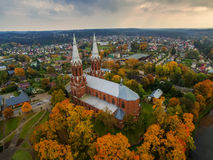 Anyksciai, Lithuania: neo-gothic roman catholic church in the autumn Royalty Free Stock Image