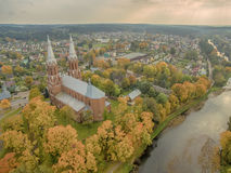 Anyksciai, Lithuania: neo-gothic roman catholic church in the autumn Stock Image