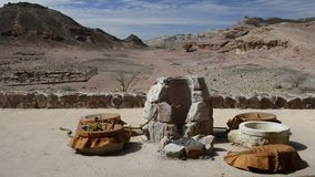 Canyon and outdoor historical museum in Timna park stock footage