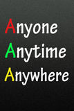Anyone,anytime and anywhere symbol Royalty Free Stock Photography