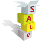Anything is on SALE in stack of store boxes sign Stock Photo