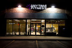 Anytime Fitness building @ Night Stock Photography