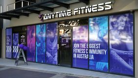 Anytime Fitness Edgecliff entrance exterior. Anytime Fitness is a biggest gymnasiums chain in Australia that offers 24 hour access