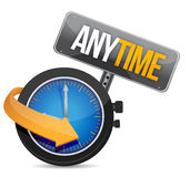 Anytime icon with clock. Illustration design over a white background royalty free illustration