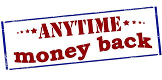 Anytime money back. Rubber stamp with text anytime money back inside, illustration royalty free illustration