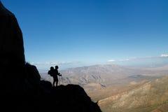 Anza-Borrego Desert State Park, California. Silhouette of a hiker viewing Anza-Borrego Desert State Park, Southern California, USA stock photos