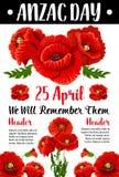 Anzac διανυσματική πολεμική αναμνηστική κάρτα παπαρουνών ημέρας κόκκινη Στοκ Εικόνες