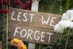 ANZAC υπογράφει για να μην ξεχνάμε Στοκ Εικόνες