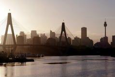 anzac φως βραδιού γεφυρών Στοκ Εικόνες