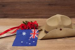 Anzac army slouch hat with Australian Flag. On vintage Stock Photos