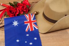 Anzac army slouch hat with Australian Flag. On vintage Royalty Free Stock Image
