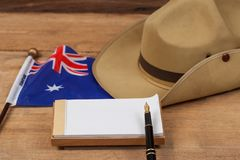 Anzac army slouch hat with Australian Flag. On vintage Stock Image