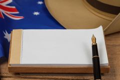 Anzac army slouch hat with Australian Flag. On vintage Royalty Free Stock Photography
