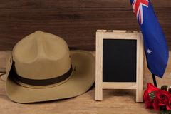 Anzac army slouch hat with Australian Flag. On vintage Stock Photo
