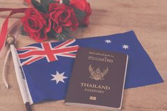Anzac army slouch hat with Australian Flag. Education in Australia concept,passport on Australia flag Royalty Free Stock Photography