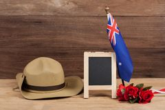 Anzac army slouch hat with Australian Flag. On vintage Royalty Free Stock Photos