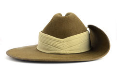 ANZAC army soldier slouch hat - front. ANZAC army soldier slouch hat on white background Stock Photos