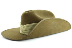 ANZAC army soldier slouch hat. On white background Stock Photo