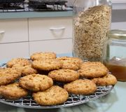 Anzac Biscuits Cooling On Wire Rack. Royalty Free Stock Photo