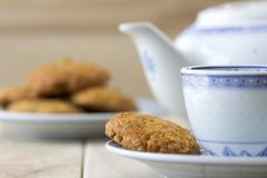 Anzac Biscuits at Table Royalty Free Stock Photo