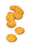 Anzac biscuits on a white background. Australian and New Zealand Army Corps (ANZAC)  biscuits isolated on a white background. They are a sweet biscuit popular Royalty Free Stock Photo
