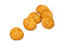 Anzac biscuits on a white background. Australian and New Zealand Army Corps (ANZAC)  biscuits isolated on a white background. They are a sweet biscuit popular Royalty Free Stock Photos