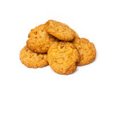 Anzac biscuits on a white background. Australian and New Zealand Army Corps (ANZAC)  biscuits isolated on a white background. They are a sweet biscuit popular Stock Photography