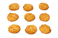 Anzac biscuits on a white background. Australian and New Zealand Army Corps (ANZAC)  biscuits isolated on a white background. They are a sweet biscuit popular Stock Images