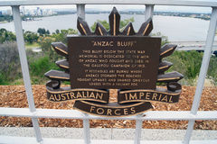 ANZAC Bluff Plaque Lizenzfreie Stockfotografie