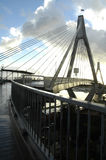 Anzac bridge. High contrast photo of Anzac Bridge in Sydney, photo taken after rain, against sun Stock Image