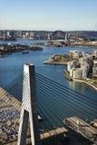 Anzac Bridge, Australia. Aerial view of Anzac Bridge and buildings by harbour in Sydney, Australia stock photography